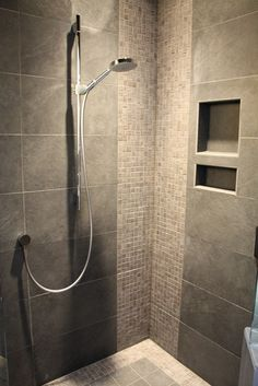 Terrific Tiled Corner Showers Pictures : Breathtaking Modern Bathroom Tiled Corner Showers Tile Pattern And Hansgrohe Shower Head Small Mosaic Tiles Have A Big Presence On Both Sides Modern Bathroom Tile, Bathroom Grey, Master Bathroom, Master Shower, Bathroom Wall, Mosaic Bathroom, Modern Shower, Modern Bathrooms, Basement Bathroom