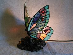 Accent Lamp  Stained Glass Butterfly  by SashasCollectibles