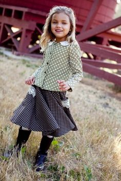 Lacey Plaid Prairie Skirt. Love the plaid with lace detail.