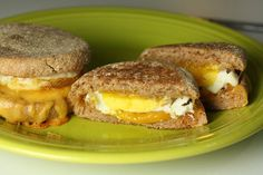 Breakfast Sandwiches - Whole wheat breakfast sandwiches with perfectly cooked eggs and cheddar cheese. Simple and delicious and easy to freeze for later!