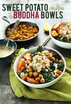 (We made this with butternut squash) 30 minute CHICKPEA Sweet Potato BUDDHA Bowls! A complete meal packed with protein, fiber and healthy fats with a STELLAR Tahini Lemon Maple Sauce! Veggie Recipes, Whole Food Recipes, Vegetarian Recipes, Healthy Recipes, Potato Recipes, Diet Recipes, Recipies, Lunch Recipes, Smoothie Recipes