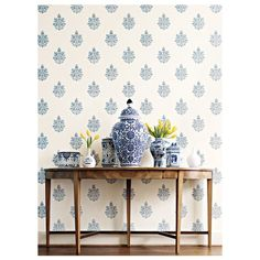 Week Blue and White Paisley Wall Schumacher 'Asara Flower' in Delft - blue & white floral medallion wallpaper - 'Asara Flower' in Delft - blue & white floral medallion wallpaper - Blue And White China, Blue China, Flower Wallpaper, Wall Wallpaper, Modern Wallpaper, Driven By Decor, Home Decoracion, Deco Table, White Houses