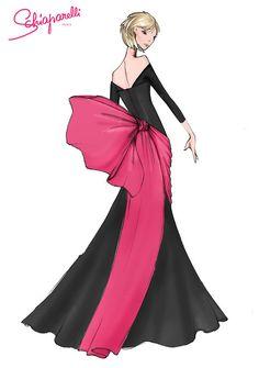 Boceto del diseño de Schiaparelli para Jane Fonda.