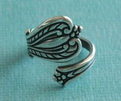 Boho flowers. spoon ring. Sterling silver ring, silver jewelry, bohemian fashion accessories.
