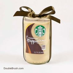 Starbucks Candle Frappuccino Coffee Candle Repurposed Bottle Candle Gift for Coffee Lover Mocha Coffee Vanilla Coffee Kitchen Decor Brown by doublebrush on Etsy