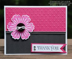 handmade card: Mixed Bunch Thank You Card by papertrail  ... hot pink and black ... flower with a button center ... sentiment on a banner ... Stampin' Up!