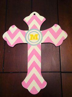 Personalized Painted Wooden Cross Door Hanger- Or For nursery!