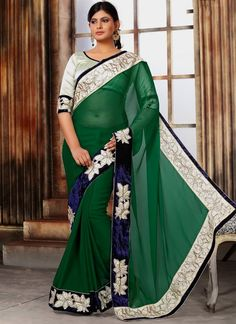 Customary Green Designer Saree