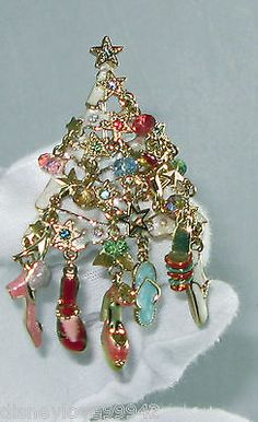 Signed Kirk's Kirks Folly Christmas Tree Shoes Heels Ornaments Pin Brooch