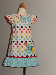 Rainbowdash My little pony Dress by Just4Princess on Etsy, $35.00 Ask if she can do this same dress using George fabrics & appliqué.