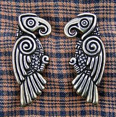 Inspired by Norse and Anglo-Saxon depictions of ravens. Purchase single or as a matched pair.  $40.00