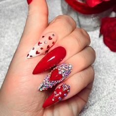 Amazing Valentines Day Nails Designs Amazing Valentines Day Nails Designs,Occasion and Holiday Nails Stunning Heart Nail Design With Rhinestones ❤ Queen Of Hearts Valentines Day Nails ❤ See more ideas on. Ongles Bling Bling, Rhinestone Nails, Bling Nails, Red Nails, Hair And Nails, Heart Nail Designs, Valentine's Day Nail Designs, Acrylic Nail Designs, Stiletto Nail Designs