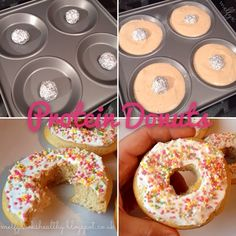 Melfy Cooks Healthy: Protein Donuts ---recipe looks ok. boring but maybe a good base? Protein Snacks, Protein Donuts, Protein Cake, Healthy Protein, Healthy Treats, Healthy Desserts, Healthy Cooking, Protein Recipes, Protein Waffles