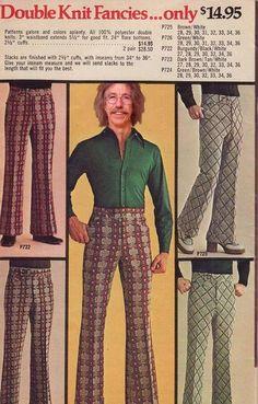 Calças estampadas para homens era sucesso no anos 70