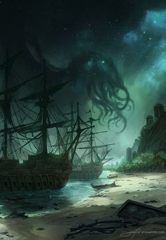 A commission for a Lovecraftian book cover - On the same line as my previous Cthulhu / Lovecraft paintings. Art Cthulhu, Lovecraft Cthulhu, Hp Lovecraft, Call Of Cthulhu, Cthulhu Tattoo, Dark Fantasy Art, Fantasy Artwork, Concept Art Landscape, Fantasy Landscape