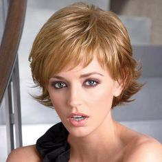 Short, wavy layers with spirited, flipped-up ends #hair #paulayoung #wig