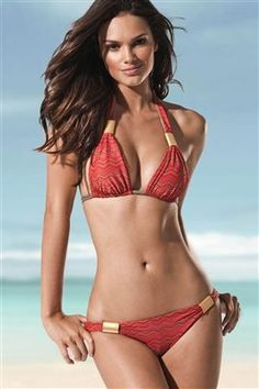 really love this one....red and brown halter swim top with gold accents. up to DD