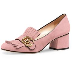 Gucci Marmont Fringe Suede 55mm Loafer (€640) ❤ liked on Polyvore featuring shoes, loafers, crystal pink, shoes loafers, pink suede shoes, slip on shoes, loafer shoes, strappy shoes and monk-strap shoes