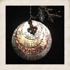 Hammered mixed metals stamped necklace