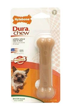 Nylabone Dura Chew Durable Dog Bone - Bacon Flavor - Petite - Dogs lbs Designed for powerful chewers. Bristles raised during chewing help clean teeth and control plaque & tartar build-up. Puppy Chew Toys, Toy Puppies, Nylons, Bacon Dog, Dog Bones, Online Pet Supplies, Chicken Flavors, Dog Chews, Bonito