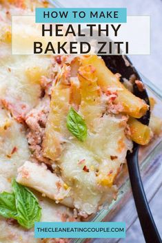 Healthy Baked Ziti is a lighter twist on a classic Italian dish. Made with ground turkey, ricotta and whole wheat pasta, it's a hearty meal the anyone will love! You can substitute ground beef, or leave the meat out to make it vegetarian. This easy dish is SO good! #bakedziti #healthy #recipe #pasta Healthy Gluten Free Recipes, Healthy Pasta Recipes, Healthy Pastas, Lunch Recipes, New Recipes, Easy Meal Prep, Healthy Meal Prep, Healthy Baking, Healthy Food
