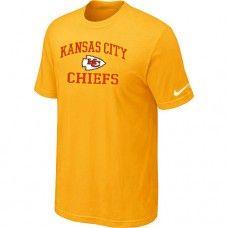 Cheap Men Kansas City Chiefs Heart And Soul Short Sleeved Yellow T-Shirt Sale_Kansas City Chiefs T-Shirts