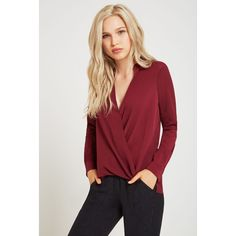 BCBGeneration Long-Sleeve Surplice Blouse ($68) ❤ liked on Polyvore featuring tops, blouses, red, surplice top, draped tops, surplice blouse, long tops and long sleeve red blouse