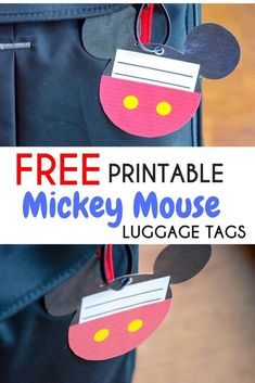 Free Printable Mickey Mouse Luggage Tags that are easy to create for your luggage on your next Disney Parks vacation.