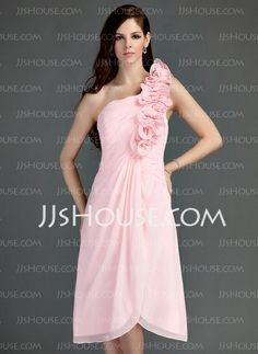 Bridesmaid Dresses - $108.99 - A-Line/Princess One-Shoulder Asymmetrical Chiffon Bridesmaid Dress With Ruffle Flower(s) (022015745) http://jjshouse.com/A-Line-Princess-One-Shoulder-Asymmetrical-Chiffon-Bridesmaid-Dress-With-Ruffle-Flower-S-022015745-g15745