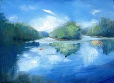 """Daily Painters of Georgia: """"Chattahoochee River, Summer"""" by Keiko Richter"""