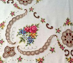vintage embroid tablecloth..cross stitch crochet insertss