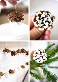 Color dipped pine cones - by Craft & Creativity ... this would be really cute with the fake snow-one paint.