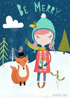Christmas - Be Merry  Illustration by Rebecca Jones