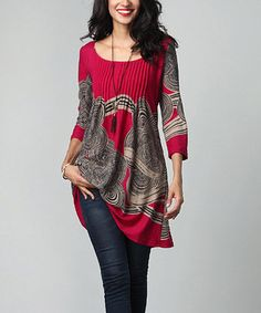 Magenta Cloud Pin-Tuck Empire-Waist Tunic
