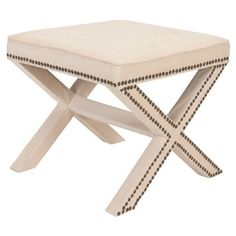 Check out this item at One Kings Lane! Palmer Ottoman, Cream/Brass