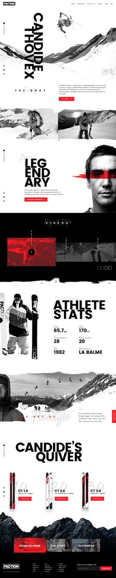 Freeskier Candide Thovex - Faction Athlete page Redesign concept