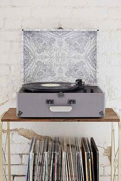 Crosley X UO AV Room Grey Mandala USB Vinyl Record Player - Urban Outfitters