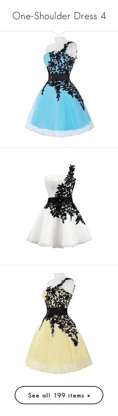 """One-Shoulder Dress 4"" by selene-cinzia ❤ liked on Polyvore featuring dresses, one sleeve mini dress, one sleeve dress, homecoming dresses, mini dress, short blue dresses, floral print dress, white dress, white beaded dress and one shoulder dress"