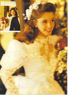 Bride in a vintage wedding gown from a magazine. 1980s Wedding Dress, Wedding Gowns, Wedding Designs, Wedding Styles, Wedding Photos, Beautiful Bride, Beautiful Dresses, Updo Styles, Vintage Gowns