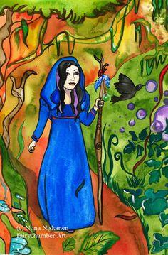Autumn Avalon Fantasy Art Original Painting Watercolor Priestess Celtic Art Mythological Art Autumn Landscape Avalon by Niina Niskanen