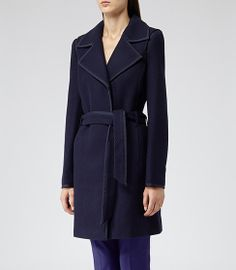 Lavina Navy Textured Fit And Flare Coat - REISS