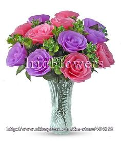 la simulación de alta flores artificiales flores nylon flores rosas hechas a mano flores de la boda irid- 10025