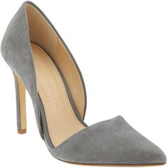 Banana Republic Womens Adelia D'orsay Pump Size 7 1/2 - Kitten gray ($149) ❤ liked on Polyvore featuring shoes, heels, high heel shoes, dorsay shoes, banana republic shoes, d'orsay shoes e synthetic shoes