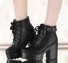 Extra Off Coupon So Cheap Women chunky heel round toe platform lace-up punk goth creeper ankle boots shoes Buckle Ankle Boots, Ankle Shoes, Platform Ankle Boots, Shoe Boots, Women's Shoes, Calf Boots, Grunge Look, 90s Grunge, Grunge Outfits