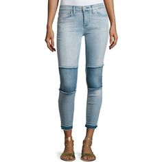 Hudson Suzzi Midrise Ankle Super Skinny (2 505 ZAR) ❤ liked on Polyvore featuring jeans, indigo, blue jeans, cropped jeans, indigo skinny jeans, cropped skinny jeans and mid rise skinny jeans