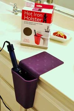 Get this holster to hold your straightener while you're sectioning off your hair.