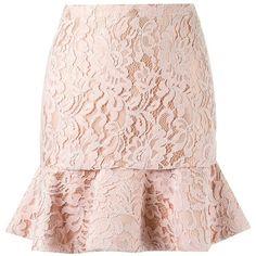 Martha Medeiros high waist lace skirt (1,364,585 KRW) ❤ liked on Polyvore featuring skirts, pink high waisted skirt, light pink skirt, high-waist skirt, high waisted knee length skirt and flounce hem skirt