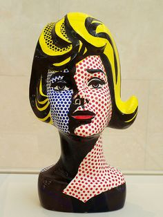 """Head with Blue Shadow"" by Roy Lichtenstein on display at the Nasher Sculpture Center in the Dallas Art District. 1965 Painted ceramic"