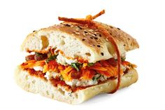 Moroccan delight - Split a Turkish roll in half and toast, if desired. Lightly spread 1 tsp harissa and 3/4 cup drained marinated feta on each side. Top the base with 1 peeled, coarsely grated carrot, 2 tsp sultanas and 1 tbs shredded fresh mint. Top with other roll half.