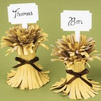 wheat bundle Thanksgiving place cards.  This is from a kit but could be done easily with construction paper and ribbon.